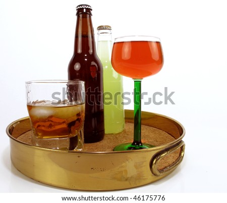 Brass serving tray with assorted adult beverages