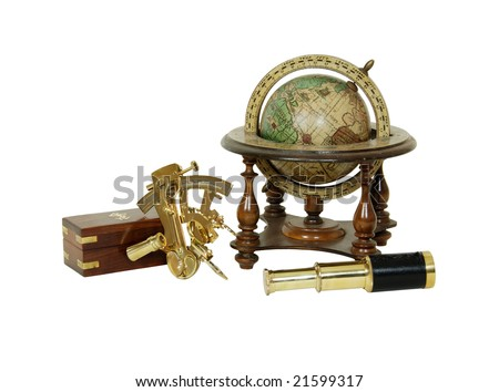 Brass Sextant, telescope, Old world globe with basic navigation notations
