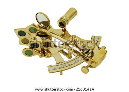 Brass Sextant used for navigating by the stars - stock photo
