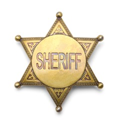 Brass Sheriff Badge Isolated on White Background.