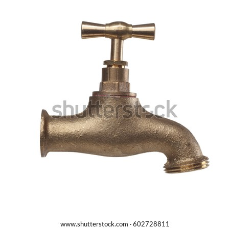 Brass tap isolated with clipping path