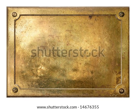 stock photo : Brass yellow metal plate framed background texture