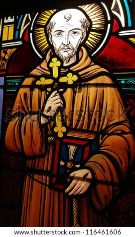 BRASSCHAAT - SEPT 8:  Stained glass window depicting Saint Francis of Asisi in the church of Brasschaat, Belgium, on September 8, 2012.