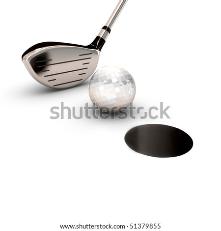 brassy for golf with a ball near a black hole