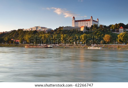 Bratislava castle and river Danube - stock photo