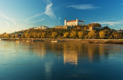 Bratislava castle,parliament and Danube river and beautiful fall day,Slovakia