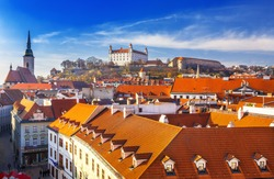 Bratislava castle st Martins cathedral and the old town rooftop view in Bratislava,Slovakia