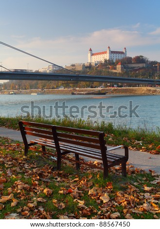 Bratislava castle with bench