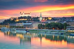 Bratislava. Cityscape image of Bratislava, capital city of Slovakia during sunset.
