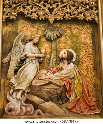 Bratislava - detail of gothic altar from st. Martins cathedral - Jesus in Geshemane garden