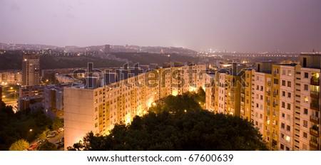 Bratislava habitation in night  storm