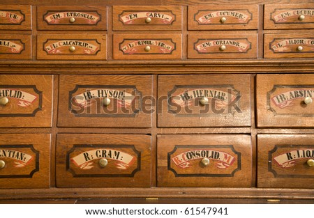 Bratislava - old pharmacy by st. Elisabeth order - stock photo
