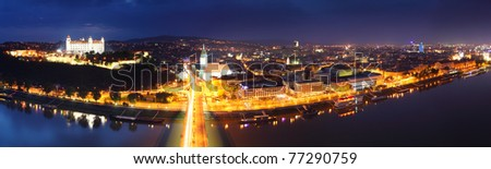 Bratislava panorama at night from new bridge