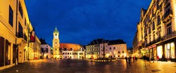 Bratislava, Slovak Republic. Historical buildings in the streets of Bratislava, Slovakia. City center during at night with shops and cafes