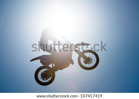 BRATISLAVA, SLOVAKIA - APRIL 28: Zdenek Fusek (CZE) jumps in the air at FMX session on April 28, 2012 in Bratislava, Slovakia
