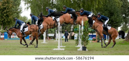 BRATISLAVA, SLOVAKIA - AUGUST 7: study of jump over hurdle - HUFENSTUHL Alexander on horse CAMSEY during the third round of qualification to Grand Prix CSIO-W*** August 7, 2010 in Bratislava, Slovakia