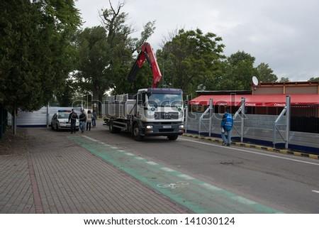BRATISLAVA, SLOVAKIA - JUNE 4:  Flood barricades are prepared to be erected on the Petrzalka side of the Danube on June 4, 2013 in Bratislava