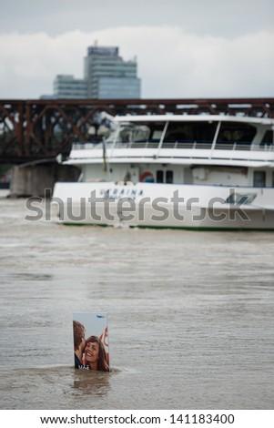 BRATISLAVA, SLOVAKIA - JUNE 5:  Rising water level of  Danube river on June 5, 2013 in Bratislava