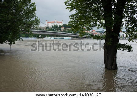 BRATISLAVA, SLOVAKIA - JUNE 4: The level of the Danube River in Bratislava exceeded 900 centimetres on June 4, which triggered a third-degree flood warning in Bratislava