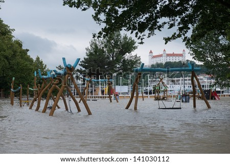 BRATISLAVA, SLOVAKIA - JUNE 4:  The water flooded whole Tyrsovo Embankment on the Petrzalka side of the Danube on June 4, 2013 in Bratislava
