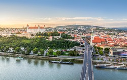Bratislava, Slovakia - Panoramic View with the Castle and Old Town at Sunset as Seen from Observation Deck