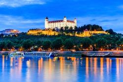 Bratislava, Slovakia. View of the Bratislava castle and Danube river at the twilight.