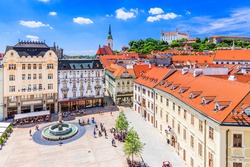 Bratislava, Slovakia. View of the Bratislava castle, main square and the St. Martin's Cathedral.