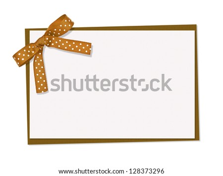 braun and white polka dot card, ribbon and bow, isolated over white background