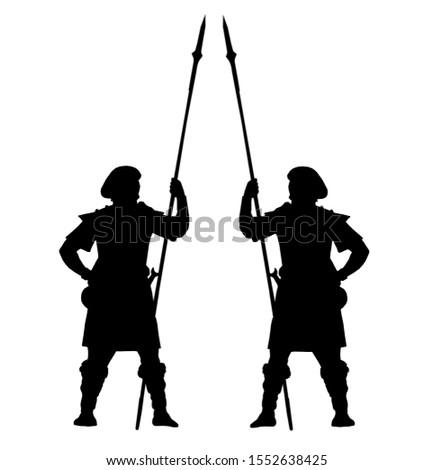 Brave highlander. Scottish warriors drawing. Fantasy figur.