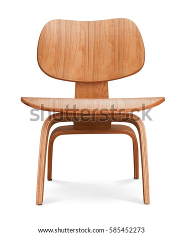 Brawn color wooden chair, armchair. Modern designer. Chair isolated on white background. Series of furniture #585452273