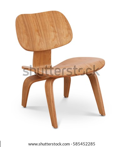 Brawn color wooden chair, armchair. Modern designer. Chair isolated on white background. Series of furniture #585452285
