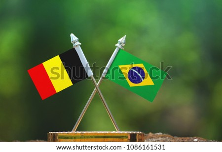 Brazil and Belgium small flag with blur green background #1086161531