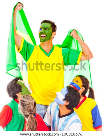 Brazil as champion leading a Latin group - isolated over white