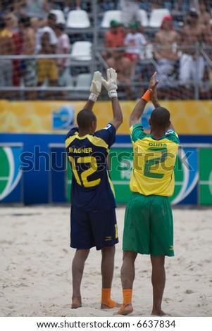 Brazil Beach Soccer Team Applauding Crowd
