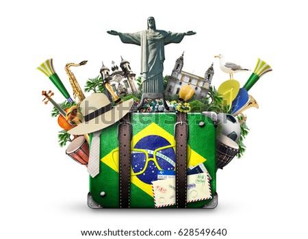Brazil, Brazil landmarks, travel and retro suitcase #628549640