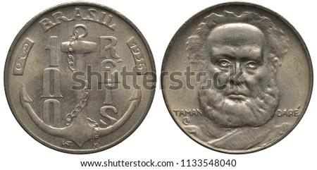 Brazil Brazilian coin 100 one hundred reis 1936, anchor with chain divides denomination, first native Brazilian Admiral Joaquim Marques Lisboa, Marquis of Tamandaré facing,