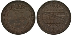 Brazil Brazilian copper coin 40 forty reis 1815, denomination and date below crown within circle of beads, stylized globe with ribbon,
