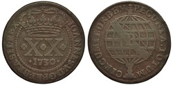 Brazil Brazilian copper coin 20 twenty reis 1730, denomination and date below crown within circle of beads, stylized globe with ribbon,