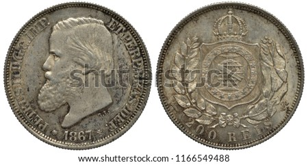 Brazil Brazilian silver coin 200 two hundred reis 1867, head of Emperor Pedro II left, date below, crowned shield with stylized globe within circle of stars flanked by tobacco leaves,