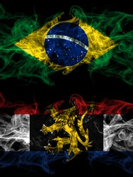 Brazil, Brazilian vs Benelux smoky mystic flags placed side by side. Thick colored silky abstract smoke flags.