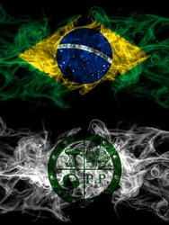Brazil, Brazilian vs United States of America, America, US, USA, American, Pee Pee Township, Ohio smoky mystic flags placed side by side. Thick colored silky abstract smoke flags.