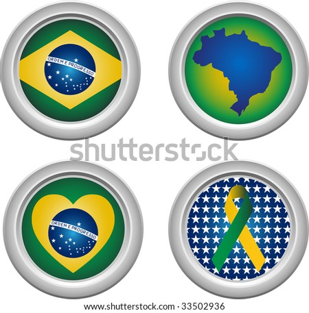 Brazil Buttons with ribbon, heart, map and flag