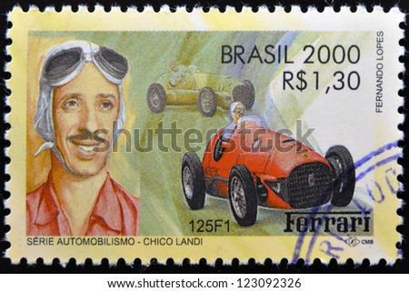 BRAZIL - CIRCA 2000: A stamp printed in Brazil dedicated to motor shows Chico Landi, circa 2000