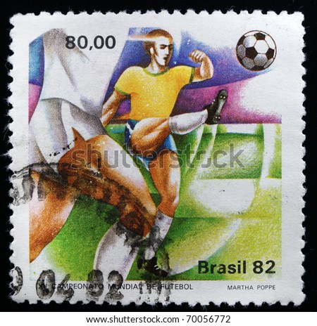 BRAZIL - CIRCA 1982: A stamp printed in Brazil showing FIFA World Cup in Brazil, circa 1982