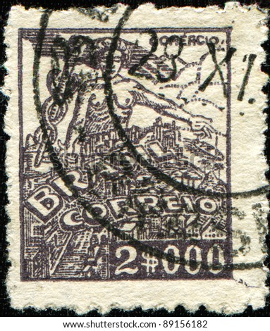 BRAZIL - CIRCA 1941: A stamp printed in Brazil shows Prometheus and industry, circa 1941