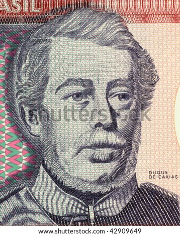 BRAZIL - CIRCA 1984: Duque de Caxias on 100 Cruzerios 1984 Banknote from Brazil. Military leader and statesman. - stock photo