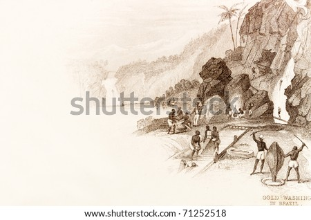 BRAZIL - CIRCA 1828 - Labourers wash for gold.  This image is of an antique miniature drawing taken from the Illustrated Atlas of the World published circa 1828 - stock photo