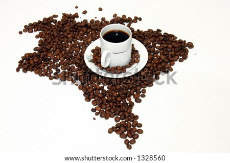 Brazil Coffee Map - stock photo