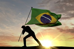 Brazil flag being pushed into the ground by a male silhouette. 3D Rendering