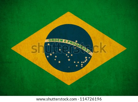 Brazil flag drawing ,grunge and retro flag series